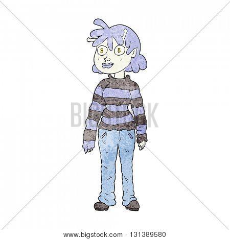 freehand textured cartoon casual alien girl