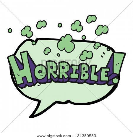 freehand drawn speech bubble cartoon word horrible