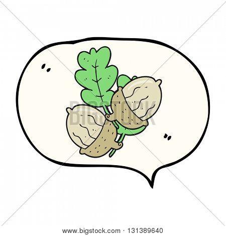 freehand drawn speech bubble cartoon acorns