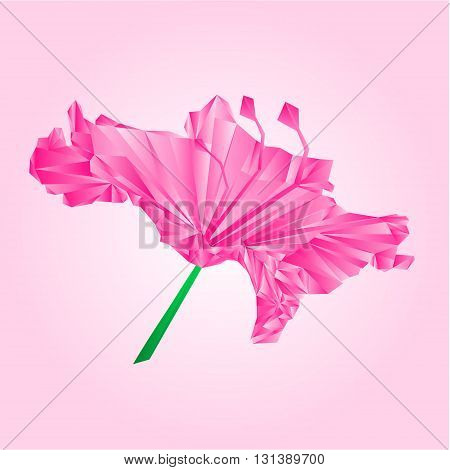 Flower simple rhododendron pink polygons Mountain shrub vector illustration