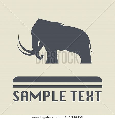 Mammoth animal icon or sign, vector illustration