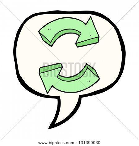 freehand drawn speech bubble cartoon recycling arrows