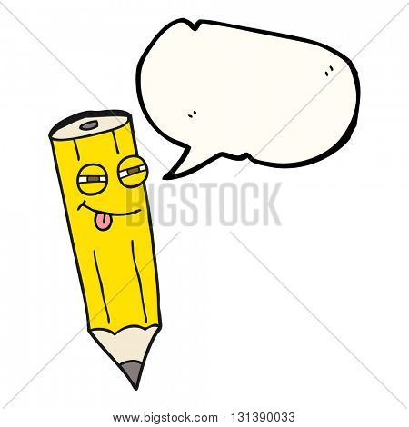 happy freehand drawn speech bubble cartoon sly pencil
