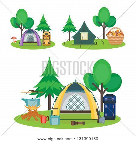 Travel hiking concept. Forest holidays  composition. Hiking and camping  tourism equipment. Camping. Forest rest. Picking mushrooms in the basket. Vector illustration. Flat cartoon style