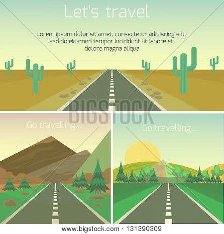 Set of landscape banners. vector travel design with road and sky, mountain and hill, sun and trees. Hitchhiking concept. Highway landscape design. Summer vacation. Flat cartoon illustration