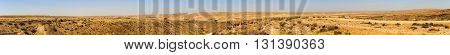 Wide Panorama Of Mountains In Negev Desert With Road