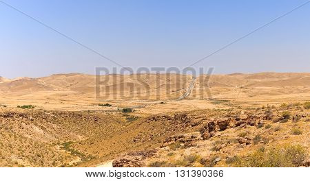 Road To Yeruham Over Mountains In Negev Desert