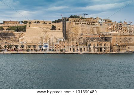 Maltese capital Valletta which is on the World Heritage Site and European Capital of Culture in the near future. Mediterreanean sea and the fortress.