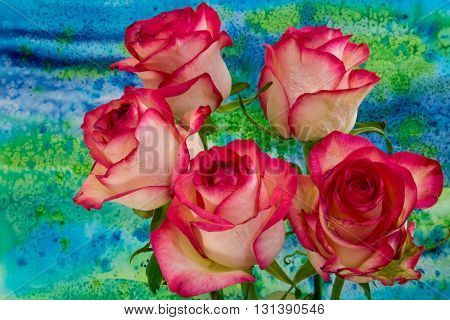 Rose Flowers On Bright Background.