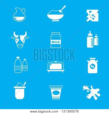 Milk, dairy products vector icons set. Dairy food and product farm, healthy dairy nutrition illustration