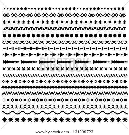 Line borders set. Geometric dotted vector dividers. Horizontal border patterns or web artistic dividers