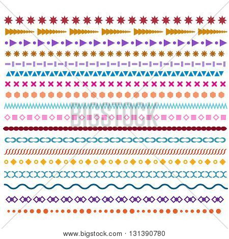 Colored vector line borders. Pattern brushes or frame design elements. Scribble and zigzag borders, trendy hipster horizontal decor lines