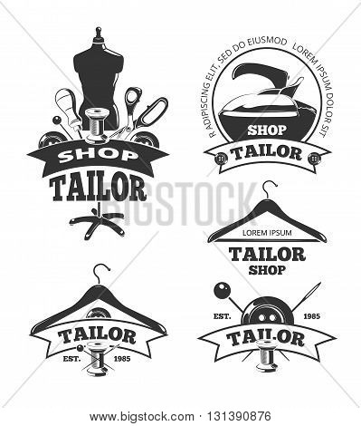 Vintage tailor vector labels or badges. Logos and emblems for craft tailor, handmade shop