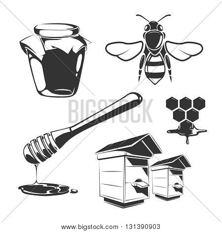 Vector elements for honey vintage labels. Honey natural food and sweet honey illustration