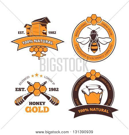 Retro beekeeper, honey vector labels or badges. Honey logo with beehive farm. Quality natural and sweet honey emblems
