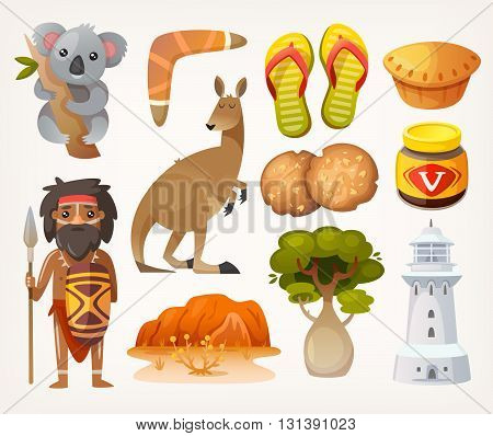 Set of animals people elements and items associated with Australia