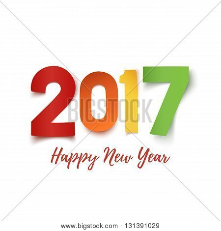 Happy New Year 2017. Colorful paper typeface isolated on white. Happy New year 2017 background. Happy New Year 2017 greeting card template. Vector illustration.