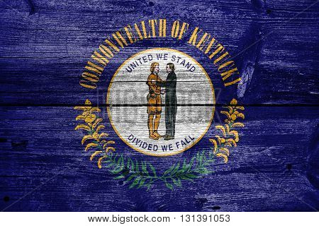 Flag Of Kentucky State, Painted On Old Wood Plank Background