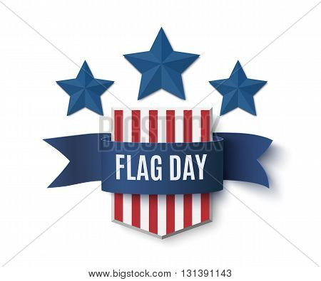 Flag Day background template. Shield with blue stars isolated on white . Vector illustration.