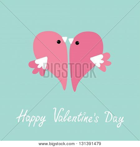 Two flying pink birds in shape of half heart. Cute cartoon character. Love card Flat design style. Happy Valentines day. Vector illustration
