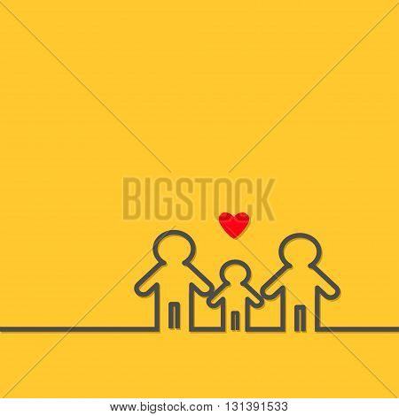 Two fathers and baby boy. Gay marriage Pride symbol Contour line man sign LGBT icon Male gender symbol. Happy family concept. Red heart. Yellow background. Flat design Vector illustration