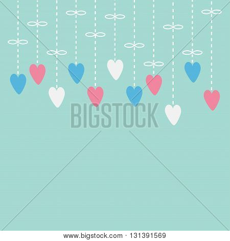 Hanging pink white hearts. Dash line with bow. Love card. Blue background. Flat design. Vector illustration
