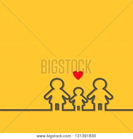 Two mothers and baby girl daughter. Gay lesbian marriage Pride symbol Contour line woman sign LGBT icon Female gender symbol. Happy family concept. Red heart. Yellow background Flat Vector