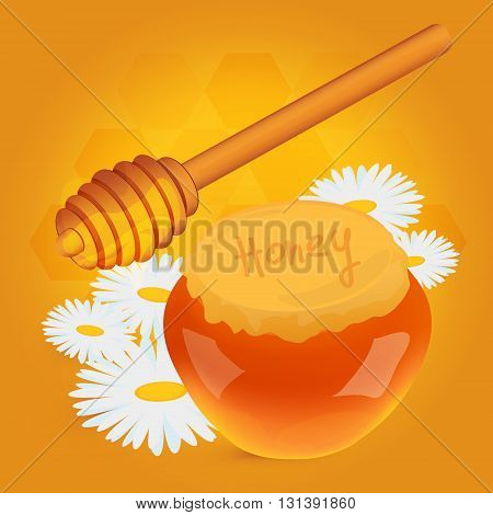 Closed honey pot and stirring stick with white camomiles on yellow background