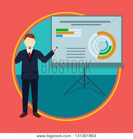 Successful Businessman With Microphone, Infographics Presentation With Laser Pointer And Talking Con