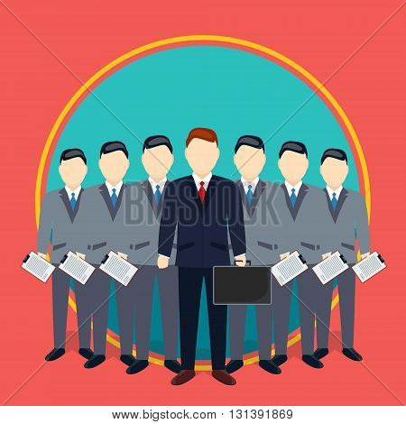 Successful Businessman And Team Of Employees Teamwork Concept