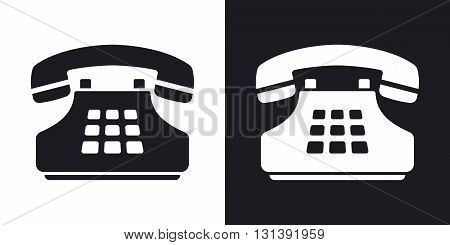 Vector push-button telephone icon. Two-tone version on black and white background