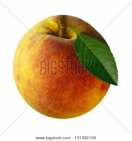 Peach isolated on white background with clipping path. Closeup with no shadows. Eating vegetarian.