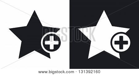 Vector star favorite icon with plus glyph. Two-tone version on black and white background