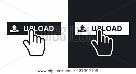 Vector upload button. Two-tone version on black and white background