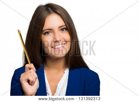 Young woman holding a pen isolated on white