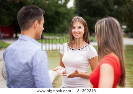 Friends talking to each other