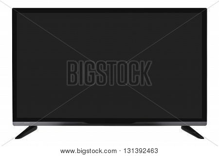 Frontal view of widescreen internet tv monitor isolated on white background