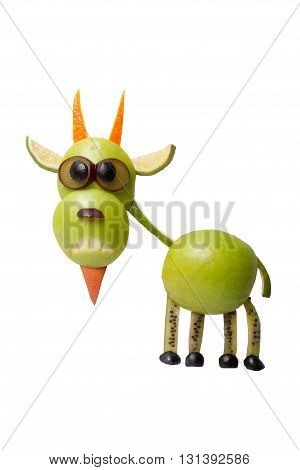 Funny goat made of apple on isolated background