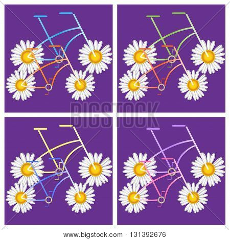 Bicycles with floral pattern print for t-shirts, textiles, souvenirs, gifts and other printed products on a purple background