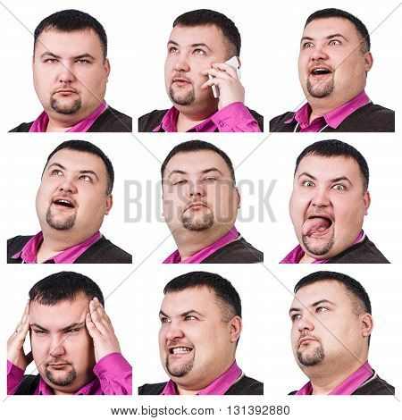 Collage of fat businessman with different emotions isolated on white