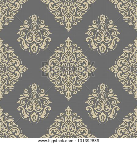 Damask seamless ornament. Traditional golden pattern. Classic oriental background
