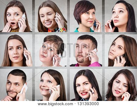 Collage of people calling on the phone on the gray background