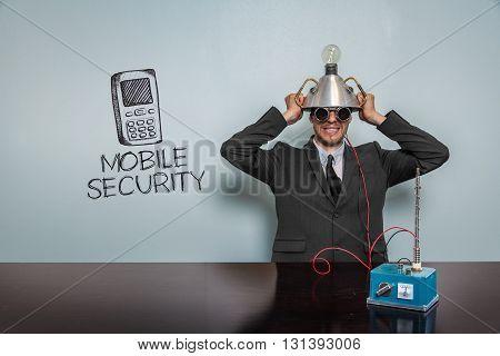Vintage businessman concept wearing futuristic helmet at office