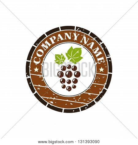 Wine barrel with grape label vector illustration isolated on white background.