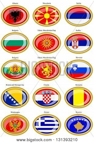 Set of icons. Flags of the Europe (Balkan countries).