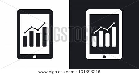 Vector tablet with business chart icon. Two-tone version on black and white background