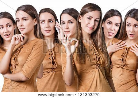 Young beautiful woman with different emotions isolated on white background