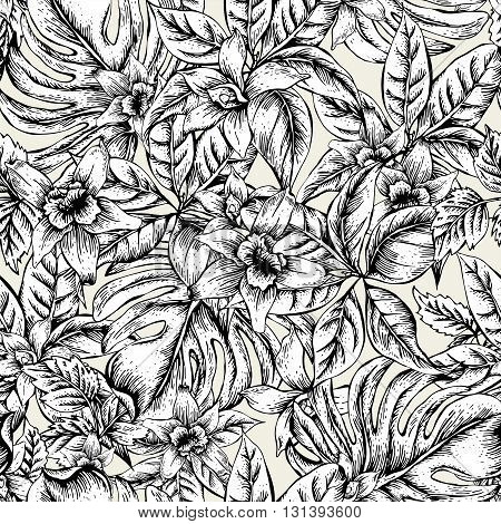 Natural floral leaves exotic vector seamless pattern, monochrome flower orchid, Black and white tropical leaves, botanical summer illustration on white background