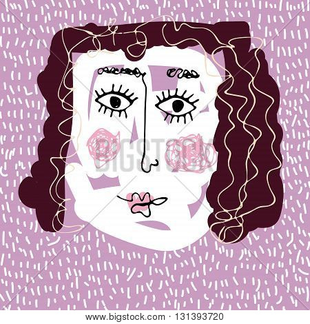 Hand drawn vector girl face in naive still. Cute brunette. Child's drawing of mother.