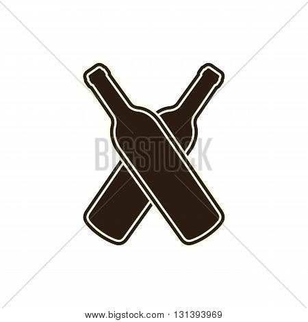 Two wine bottles silhouette vector illustration isolated on white background.